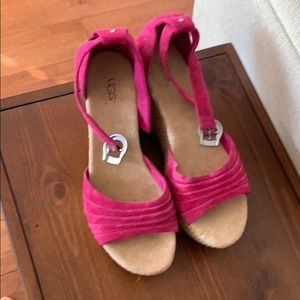 NWOT Ugg suede hot pink wedge sandals.
